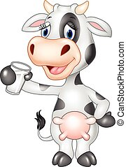 Cartoon funny cow holding a glass - Vector illustration of...