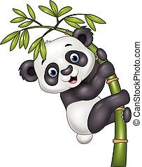 Cute funny baby panda hanging - Vector illustration of Cute...