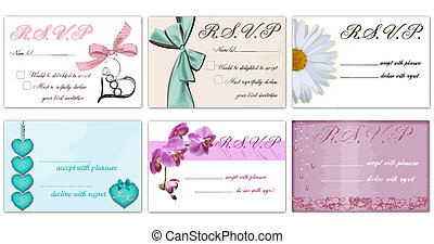 rsvp vector cards - set of 6 rsvp vectors isolated on white...