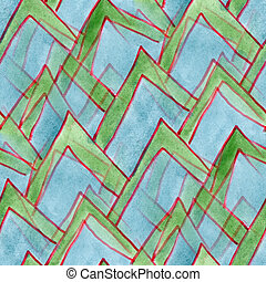Seamless triangle watercolor green blue handmade wallpaper -...