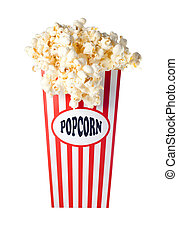 Popcorn box overflowing - Overflowing Popcorn Box Isolated...