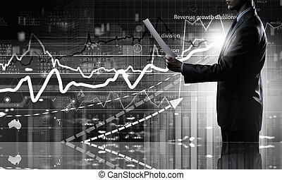 Average sales report - Businessman with papers in hands on...