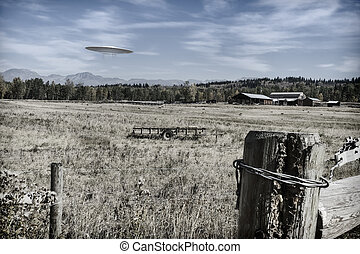 Farm with Scout UFO - UFO flying over farmland with...