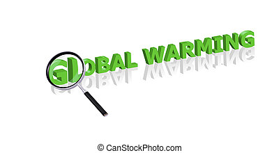 global warming search - Magnifying glass enlarging part of...