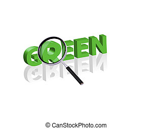green search - Magnifying glass enlarging part of red 3D...