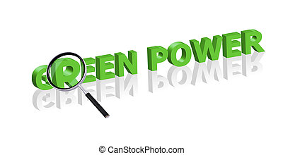 green power search - Magnifying glass enlarging part of red...