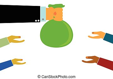 Hand Give a Sack of Money - Vector Hand Give a Sack of Money...