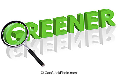 greener search - Magnifying glass enlarging part of red 3D...