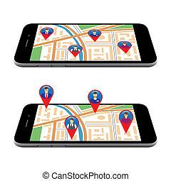 redes, mapa, cidade, tela,  social