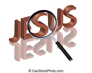 jesus search - Magnifying glass enlarging part of red 3D...