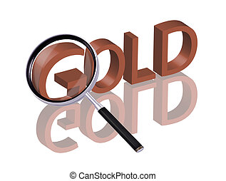 gold search - Magnifying glass enlarging part of red 3D word...