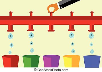 Illustration for cost control - vector Money Drop,...