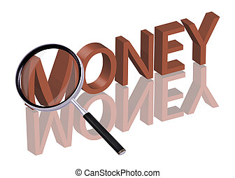money search - Magnifying glass enlarging part of red 3D...