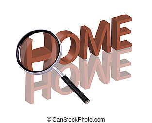 home search - Magnifying glass enlarging part of red 3D word...