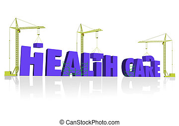 health care construction - health care 3D blue letters buikd...