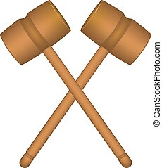 Two crossed wooden mallets in brown design on white...