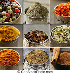 collage of various spices macro