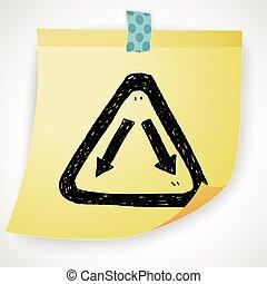 garfo, sinal, doodle,
