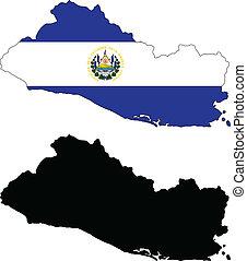 el salvador - vector map and flag of El Salvador with white...