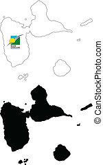 guadeloupe - vector map and flag of Guadeloupe with white...