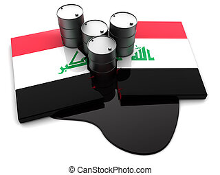 Iraq conflict - abstract 3d illustration of cracked Iraq...
