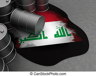 Iraq oil - 3d illustration of oil waste and Iraq flag in it