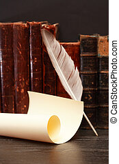 Quill And Scroll - Ancient literature. Quill near scroll on...