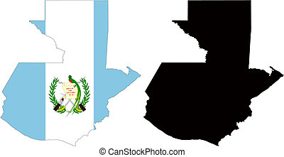 guatemala - vector map and flag of Guatemala with white...
