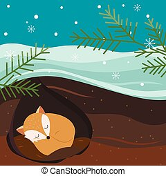 Let it snow. Fox sleeping in the hole. Holiday background.