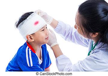 cabeça, doutor, paciente, esportes, faixa, faz, ferimento,...