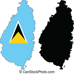 saint lucia - vector map and flag of Saint Lucia with white...