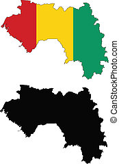 guinea - vector map and flag of Guinea with white background...