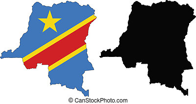 congo democratic - vector map and flag of Democratic...
