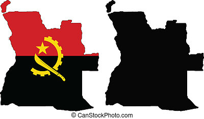 angola - vector map and flag of Angola with white...