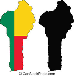 benin - vector map and flag of Benin with white background.
