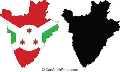 burundi - vector map and flag of Burundi with white...