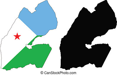 djibouti - vector map and flag of Djibouti with white...