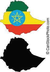 ethiopia - vector map and flag of Ethiopia with white...