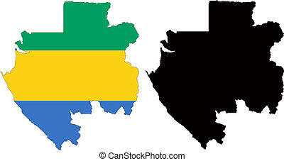 gabon - vector map and flag of Gabon with white background....