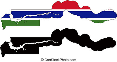 gambia - vector map and flag of Gambia with white...