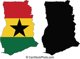 ghana - vector map and flag of Ghana with white background...