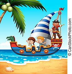 Children on the ship with pirate