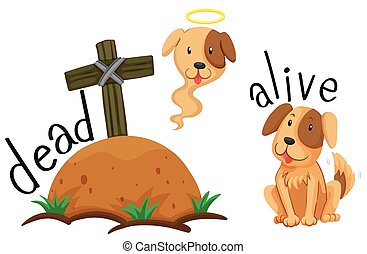 Dead dog under the ground and dog alive