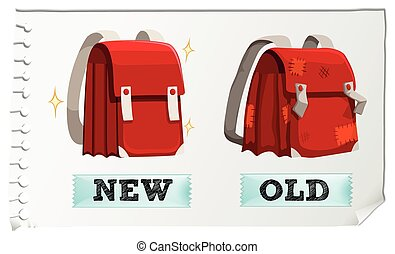 Opposite adjectives new and old illustration