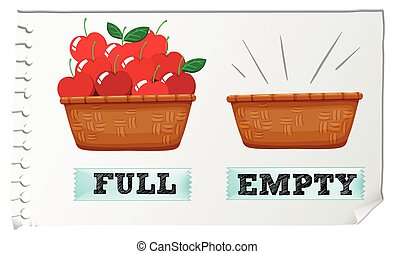 Opposite adjective full and empty illustration