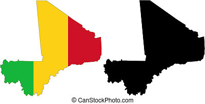 mali - vector map and flag of Mali with white background.