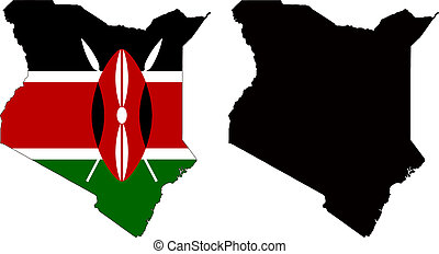 kenya - vector map and flag of Kenya with white background.