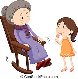 Old lady on rocking chair and a girl illustration