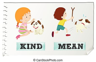 Opposite adjectives kind and mean illustration