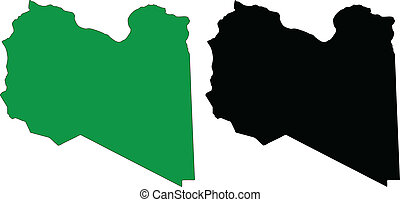 libya - vector map and flag of Libya with white background